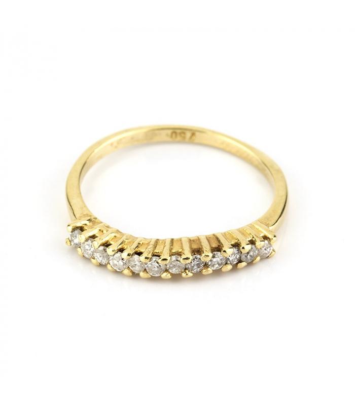Sortija de oro amarillo con 12 diamantes talla de brillantes - Talla 10 [ES]