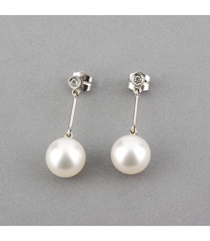 Pendientes oro blanco con diamantes perlas Australianas