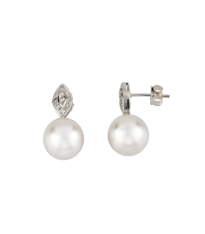 Pendientes oro blanco con diamantes y perlas South Sea