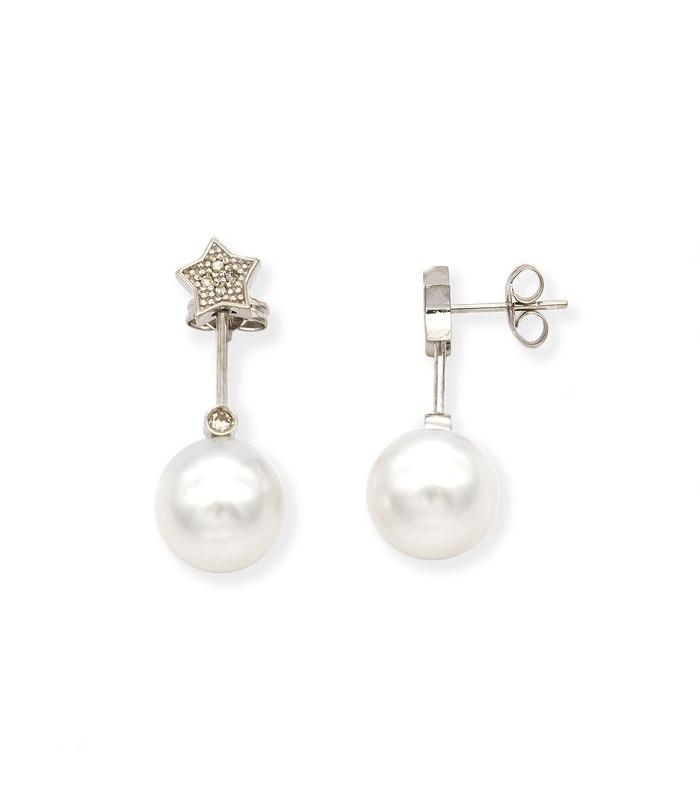 Pendientes Oro blanco con Diamantes y perlas