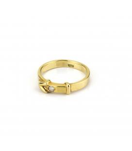 Sortija de oro amarillo con diamante talla de brillante - Talla de la sortija 12,5 [ES]