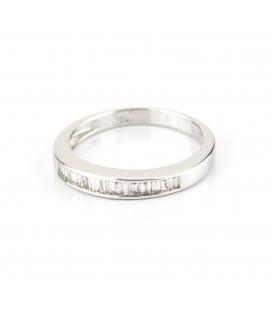 Sortija de oro blanco con diamantes talla baguette – Talla 13 [ES]