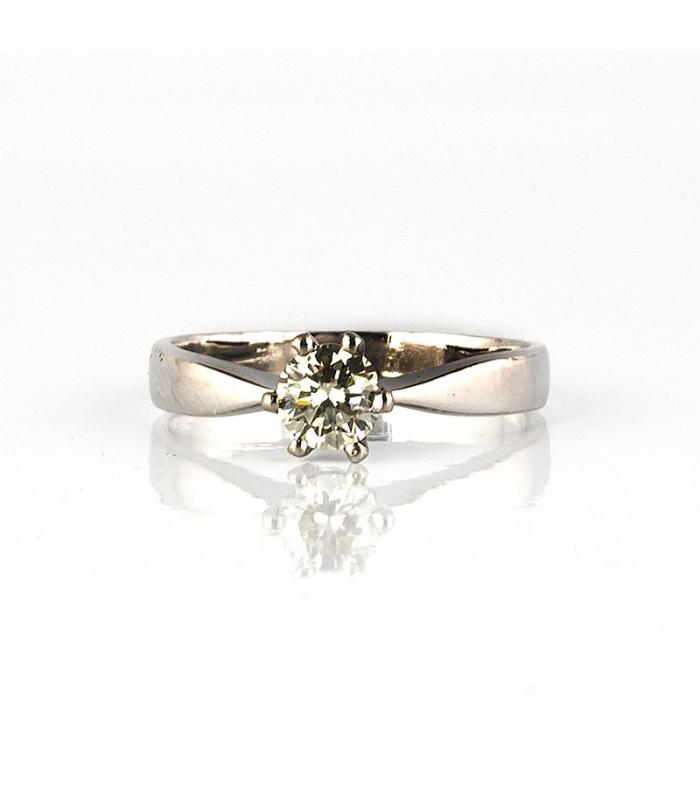 Sortija de oro blanco y diamante talla brillante - Talla 12