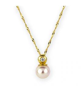 Gargantilla con colgante de oro amarillo con diamante y perla de akoya
