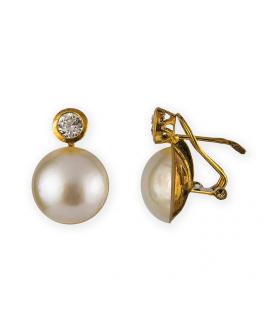 Pendientes de oro amarillo con circonita y Perla Mabe