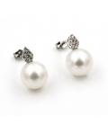 Pendientes oro blanco con Diamantes y Perlas Australianas