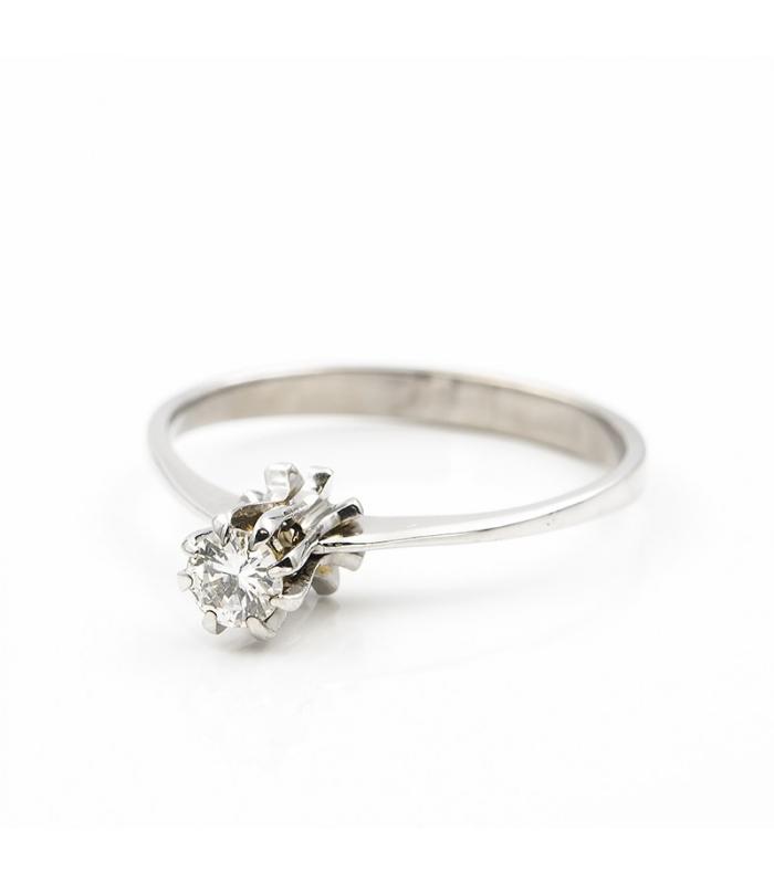 Anillo solitario en montura de oro blanco con diamante talla brillante de 0,20 kts - Talla 12 [ES]