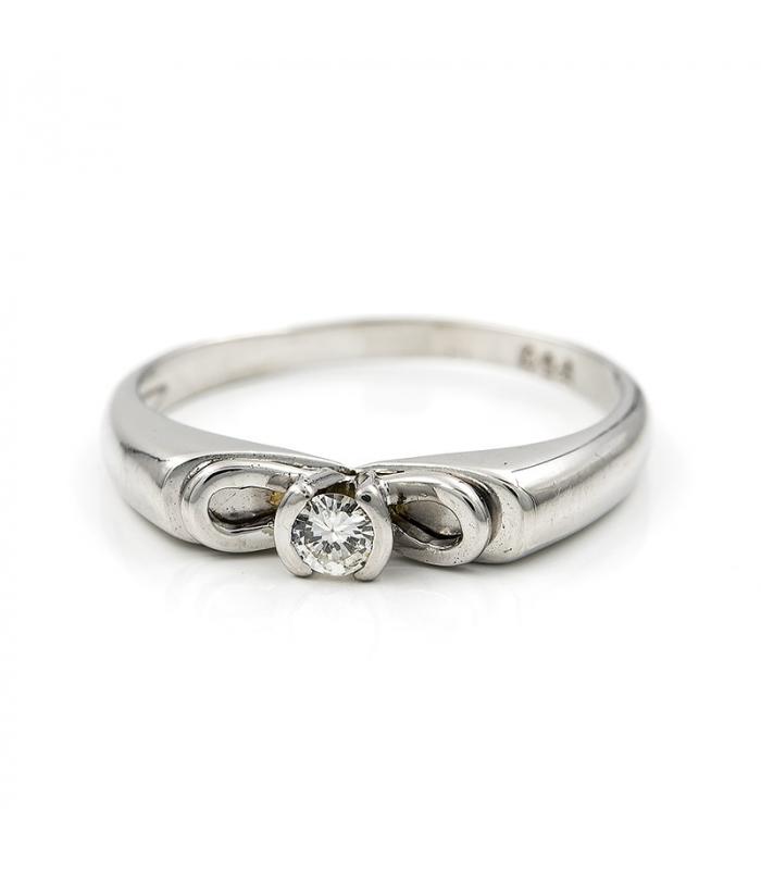 Sortija media alianza en oro blanco con diamante talla brillante 0,10 kts Talla 14 [ES]