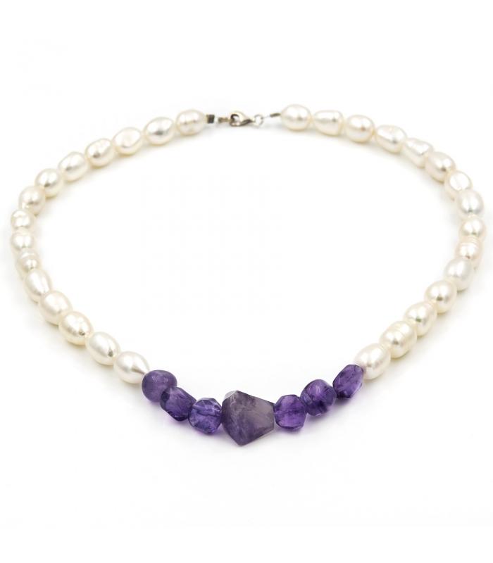 Collar de Perlas con Amatistas