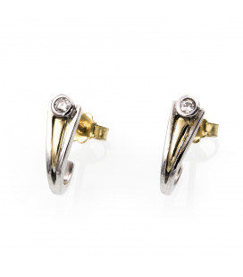 Pendientes bicolor de oro con diamantes