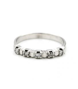 Sortija quintillo en oro blanco con diamantes - Talla 16,5 [ES]