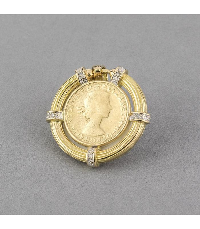 Colgante bicolor de Oro Amarillo y blanco de 18 kt de libra esterlina con 5 Diamantes