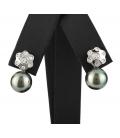 Par de pendientes en forma de flor con perla de Tahití y diamantes