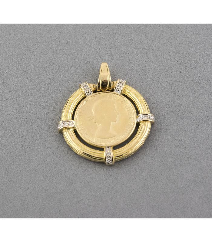 Colgante bicolor de libra esterlina con 5 Diamantes