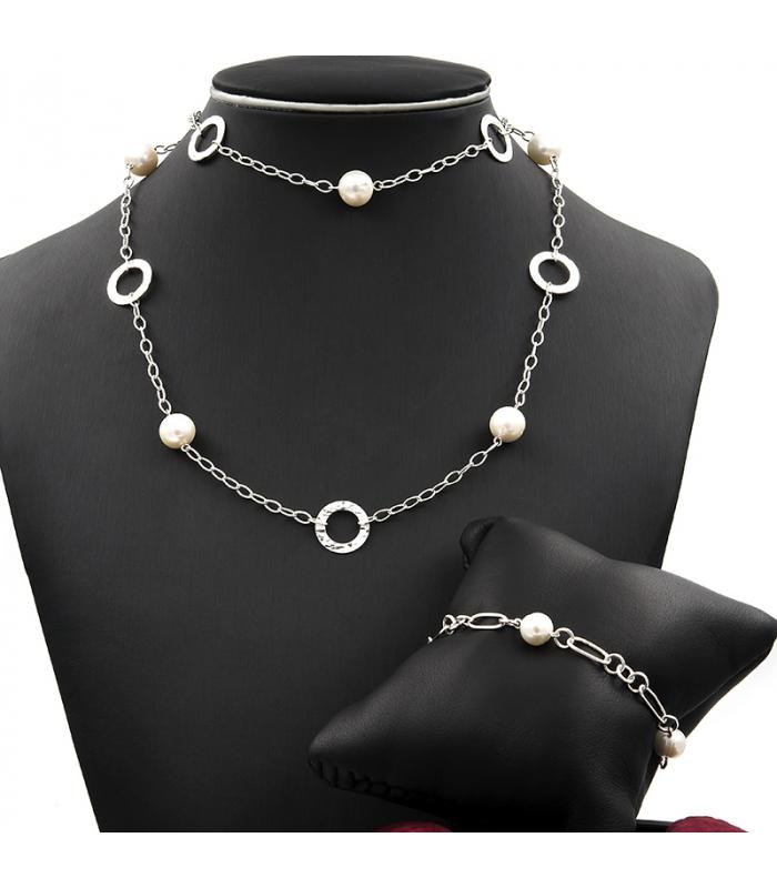 4fe053fcb88b Conjunto de collar largo y pulsera de plata formado perlas cultivadas