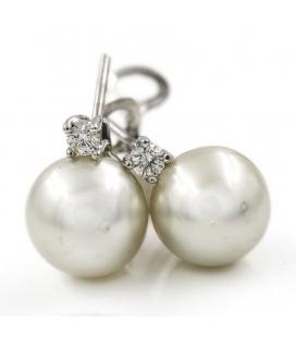 Pendientes Oro blanco con Diamantes brillantes y Perlas Australianas