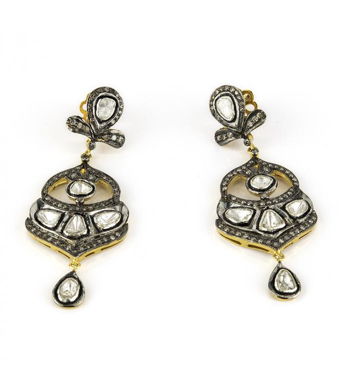 Par de Pendientes de Oro amarillo, Plata y Diamantes Flat