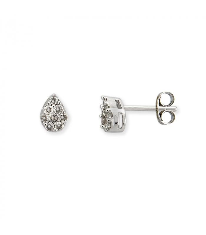 Par de pendientes de oro blanco en forma de pera con diamantes