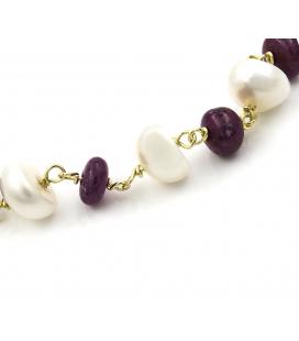 Pulsera Oro amarillo con Perlas naturales y Rubíes