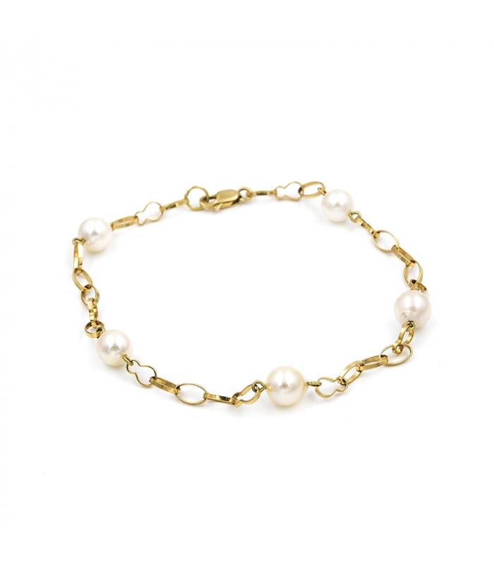 Pulsera de oro amarillo con perlas de Akoya