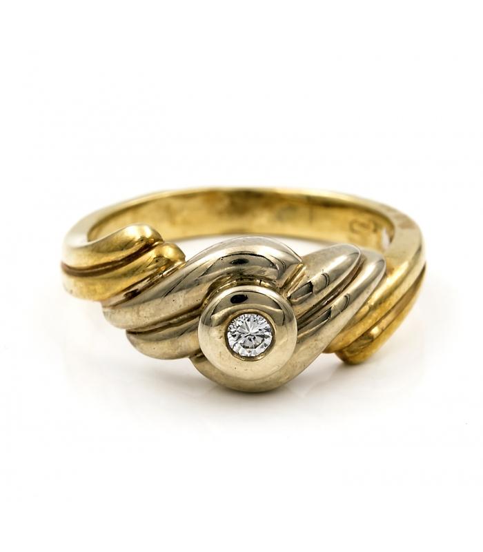 Sortija de oro amarillo con montura maciza gallonada y diamante central - Talla 12 [ES]