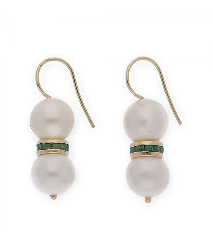 Pendientes en oro amarillo con perlas naturales culivadas y esmeraldas talla redonda