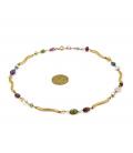Gargantilla en oro amarillo con piedras irregulares turmalinas, amatistas y perlas cultivadas akoya