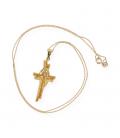Cadena de oro amarillo con cruz colgante de oro amarillo con diamantes