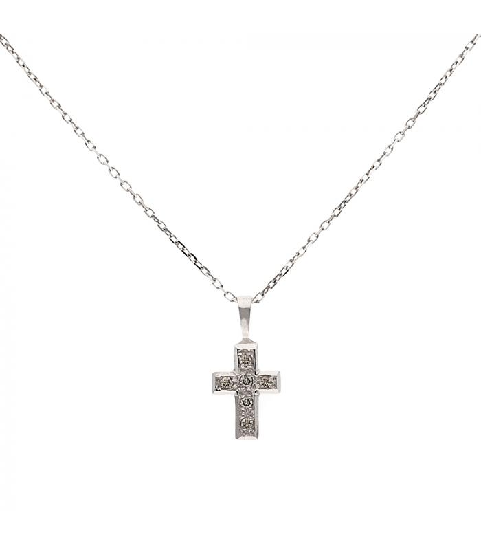 Gargantilla de oro blanco con cruz en oro blanco decorada con diamantes