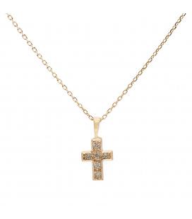 Gargantilla Cruz Oro amarillo con Diamantes
