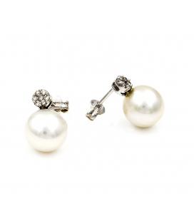 Pendientes Oro blanco con Brillantes y Perlas Australianas