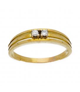 Sortija en oro amarillo con diamantes en la parte central - TALLA 18 [ES]