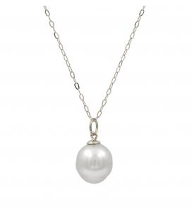 Gargantilla y colgante en oro blanco con perla australiana