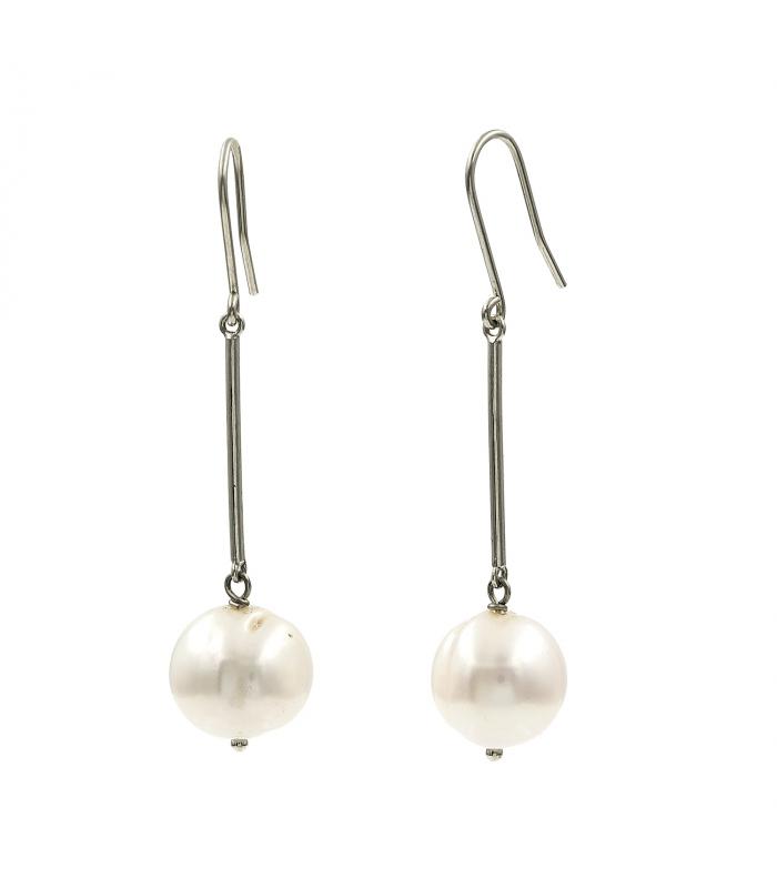 Pendientes en oro blanco y perlas barrocas