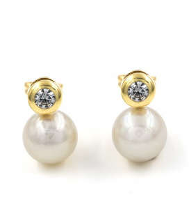 Pendientes de oro amarillo con perlas y circonitas