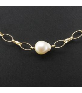 Gargantilla de oro amarillo con perlas Akoya
