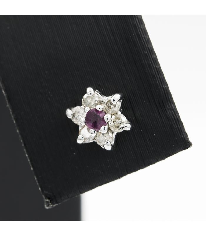 65a2202c9387 Pendientes estrella de oro blanco con diamantes y rubíes