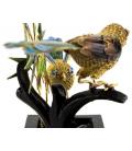 Figura china de una pareja de aves en plata chapada