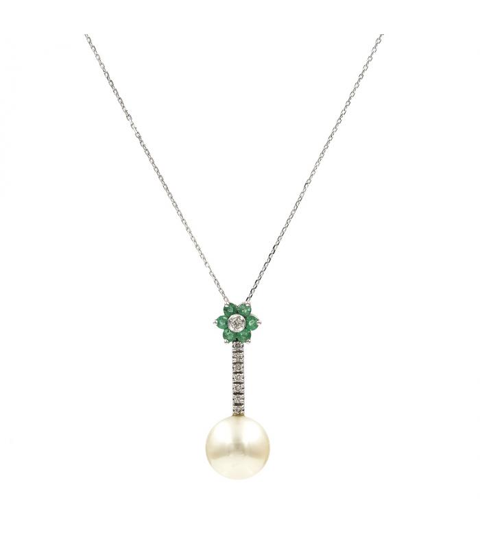 Gargantilla de oro con Diamantes, Esmeraldas y Perlas