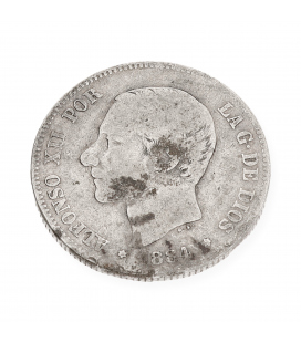 Moneda Española de Plata Monarca Español Alfonso XII
