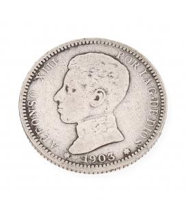 Moneda en Plata Monarca Español Alfonso XIII año 1903