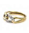 Sortija Oro Blanco y Oro Amarillo con Diamantes