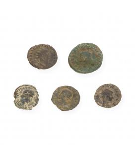 Lote de 5 Monedas Romanas de Emperadores en Bronce