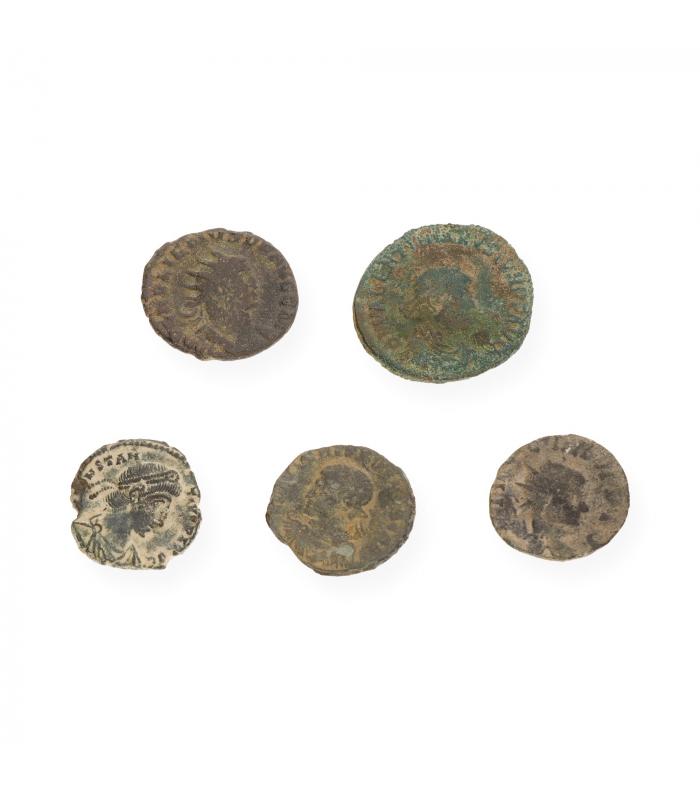 Lote de 5 Monedas Romanas en Bronce