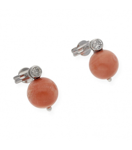 Pendientes de Oro blanco con Diamantes y Coral Natural