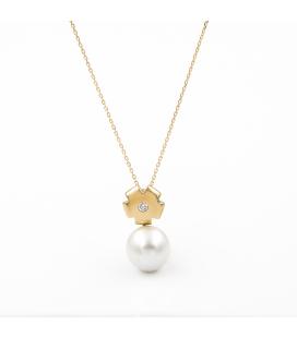 Gargantilla de oro amarillo con Diamante y Perla Australiana