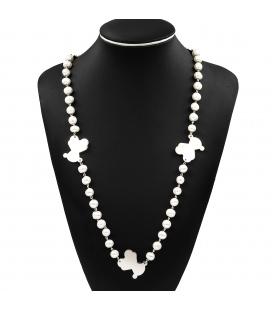 Collar en plata de ley estilo Tous con perlas