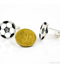 Gemelos con Motivo del Atlético de Madrid en Plata Diseño Balón
