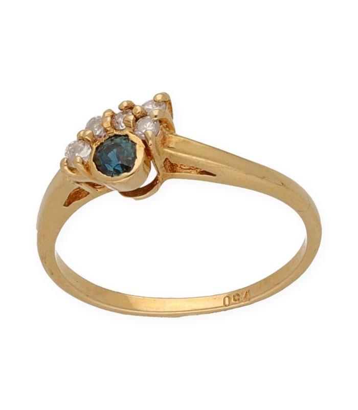 Sortija de Oro amarillo con Diamantes y Zafiro