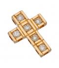 Gargantilla con Colgante Cruz en Oro amarillo con Diamantes